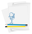 A paper with an image of a girl with a gift vector image vector image