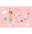 After shower bathroom set on pink background Dodo vector image vector image