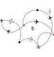 airline plane flight path vector image vector image