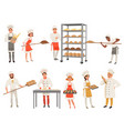 bakers characters set with bread and cooking tools vector image vector image
