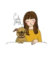 Beautiful young girl and a cute pug vector image vector image