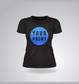 black woman t-shirt with short sleeves mock up vector image vector image