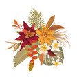 boho tropical flowers bouquet tropic leaves vector image