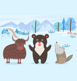 bull and bear with howling wolf in winter forest vector image