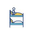 bunk bed in dormitory rgb color icon vector image vector image