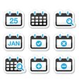 Calendar date icons set vector image vector image