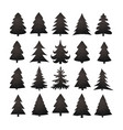 christmas tree silhouette design set vector image vector image