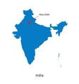 Detailed map of India and capital city New Delhi vector image