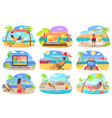 distant work and freelance on beach during summer vector image