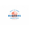 engraving logo burger silhouette and modern vector image