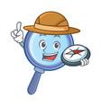 explorer magnifying glass character cartoon vector image