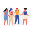 female friends walk together happy young vector image