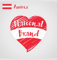 flag heart austria national brand vector image vector image