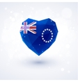 Flag of Cook Islands in shape diamond glass heart vector image vector image