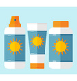 Flat bottles of sunscreen with sun motif vector image vector image