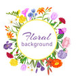 floral round circle cute summer flowers vector image vector image