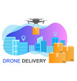 flying drone delivery box and cityscape big city vector image