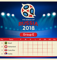 group e qualifier table russia 2018 world cup vect vector image vector image