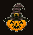 halloween pumpkin in witch hat colorful vector image vector image