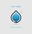 hand and water drop with water waves icon logo vector image vector image