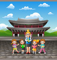 happy kids study tour with a teacher in changdeokg vector image