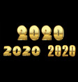 happy new year number set gold 3d number 2020 vector image