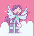 happy valentines day cupid with arrow gift box vector image vector image