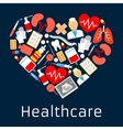 Heart shape emblem with medicine symbols vector image