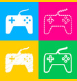 joystick simple sign four styles of icon on four vector image