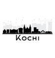 kochi city skyline black and white silhouette vector image vector image