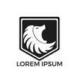 lion shield logo design template vector image vector image