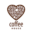 logo coffee beans in the shape of heart vector image vector image