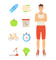 man sportive person icons vector image vector image