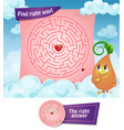 maze right way hearts vector image