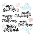 merry christmas lettering design set with floral vector image