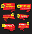 modern stickers and tags red collection vector image
