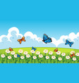 nature scene background with butterflies flying