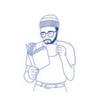 pensive bearded man with glasses holding cup vector image