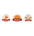 pizza pizzeria logo or symbol labels for menu vector image vector image