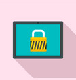 protected tablet icon flat style vector image vector image