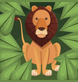 realistic color poster closeup lion in the jungle vector image vector image