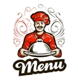 restaurant menu logo cafe diner or chef vector image vector image