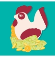 saving money concept with rooster bank financial vector image vector image