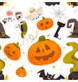 seamless pattern of cartoon halloween objects vector image vector image