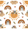 seamless pattern with tribal sun cloud vector image vector image