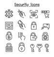 security icon set in thin line style vector image vector image