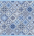 set of mosaic blue and white square patterns vector image