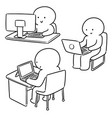 set office worker vector image vector image