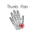 thumb pain linear icon vector image