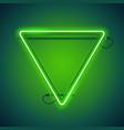 triangular green neon frame vector image vector image